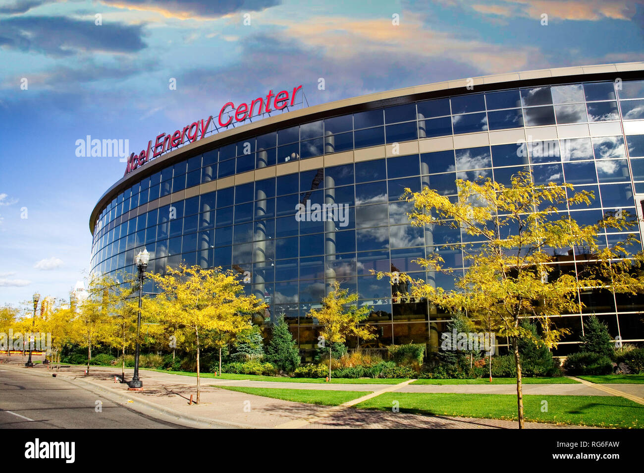 The Excel Energy Center is home to the Minnesota Wild Hockey team and serves as a venue to many concerts and events. St. Paul, Minnesota. - Stock Image