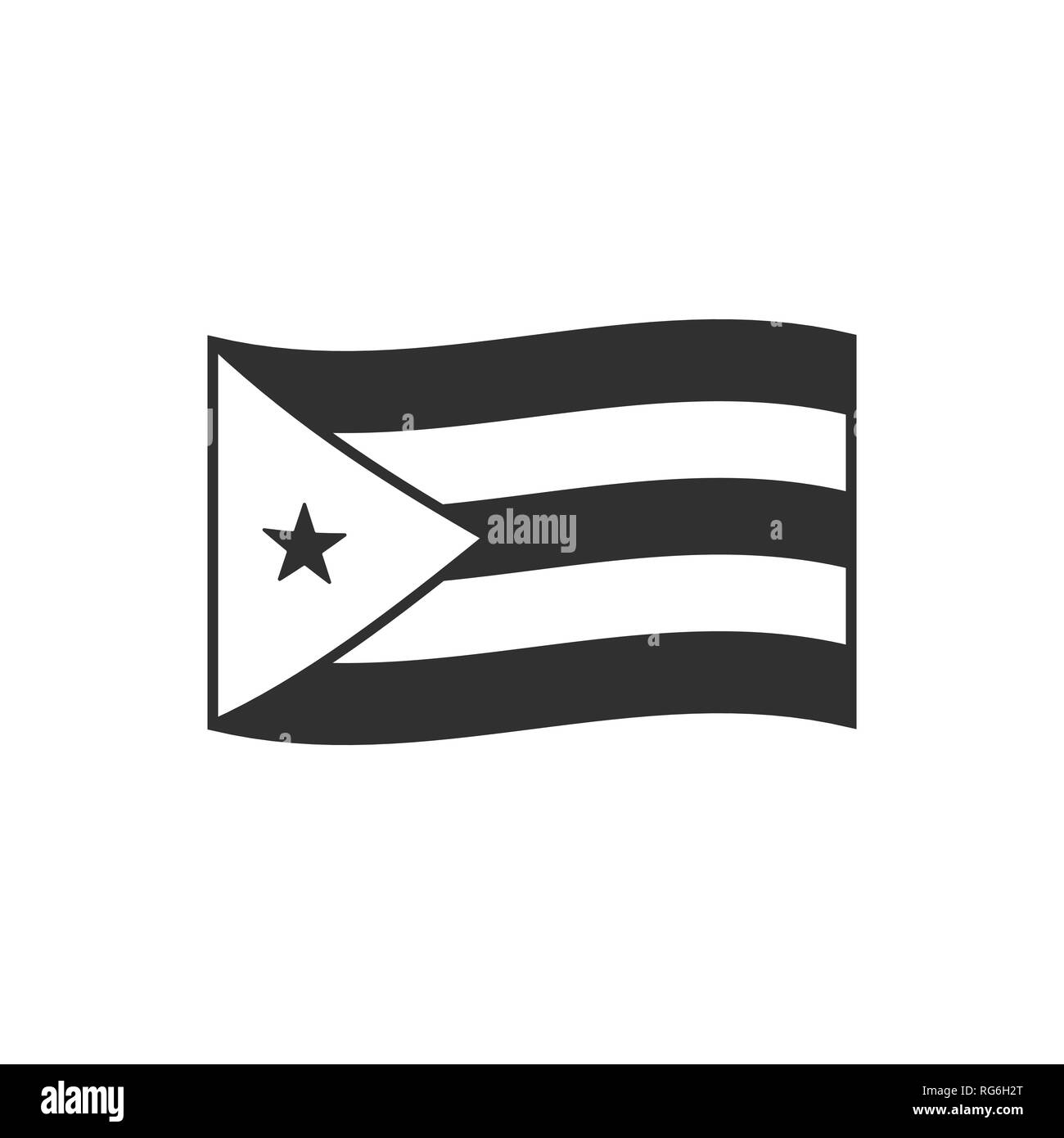Cuba Flag Icon In Black Outline Flat Design Independence Day Or