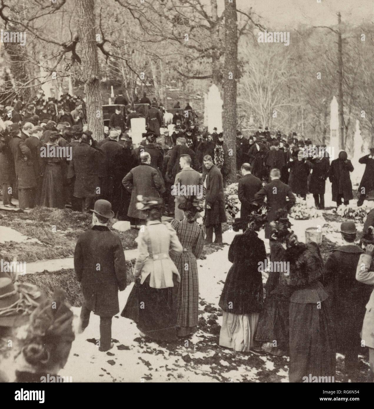 Ceremonies at the grave of James G. Blaine, Oak Hill Washington, D.C., USA - 1893 - Stock Image