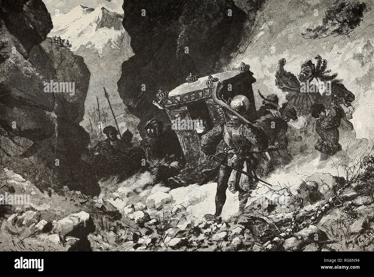 The Flight of the Emperor Charles - Charles V flees suddenly over the Alps to escape the German Rebels - Stock Image