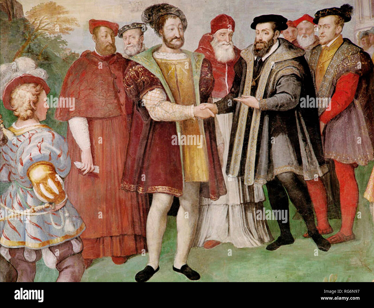 Francis I and Charles V made peace at the Truce of Nice in 1538. Francis actually refused to meet Charles in person, and the treaty was signed in separate rooms.   Truce of Nice 1538. Taddeo Zuccari - Stock Image
