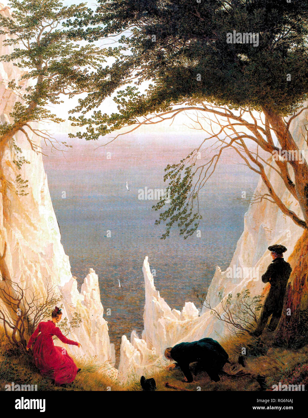 Chalk Cliffs at Ruegen - Caspar David Friedrich, circa 1818 - Stock Image