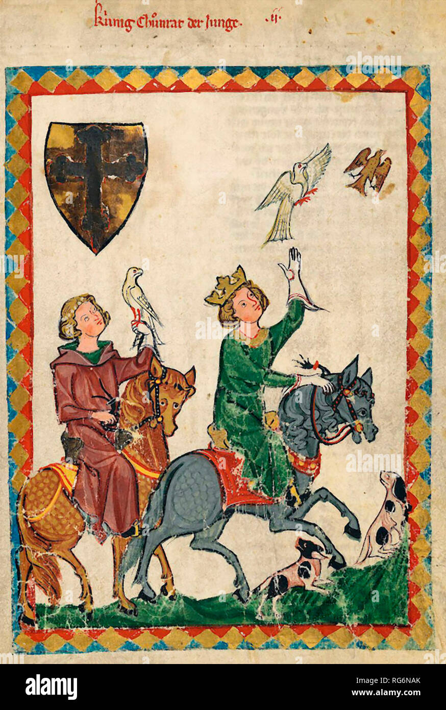 King Conrad the Younger, from the Codex Manesse (Folio 7r), 14th century - Stock Image
