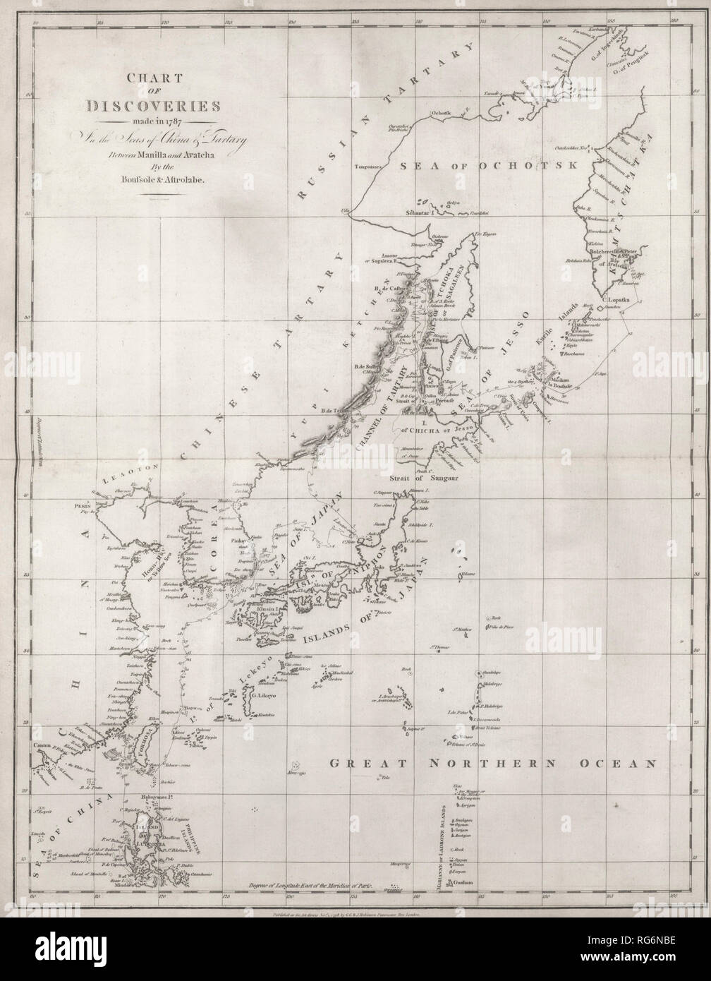 Chart of Discoveries - Discoveries made in 1787 In the Seas of China and Tartary between Manila and Avacha - La Perouse - Stock Image