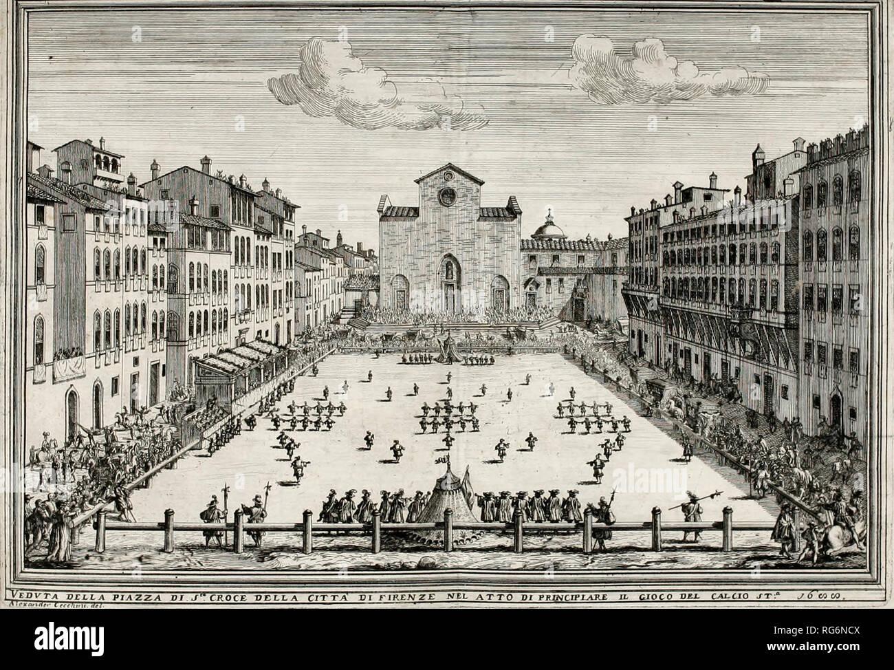 A Calcio Fiorentino (Historic Football) game played at Piazza Santa Croce, Florence, Italy, circa 1688 - Stock Image