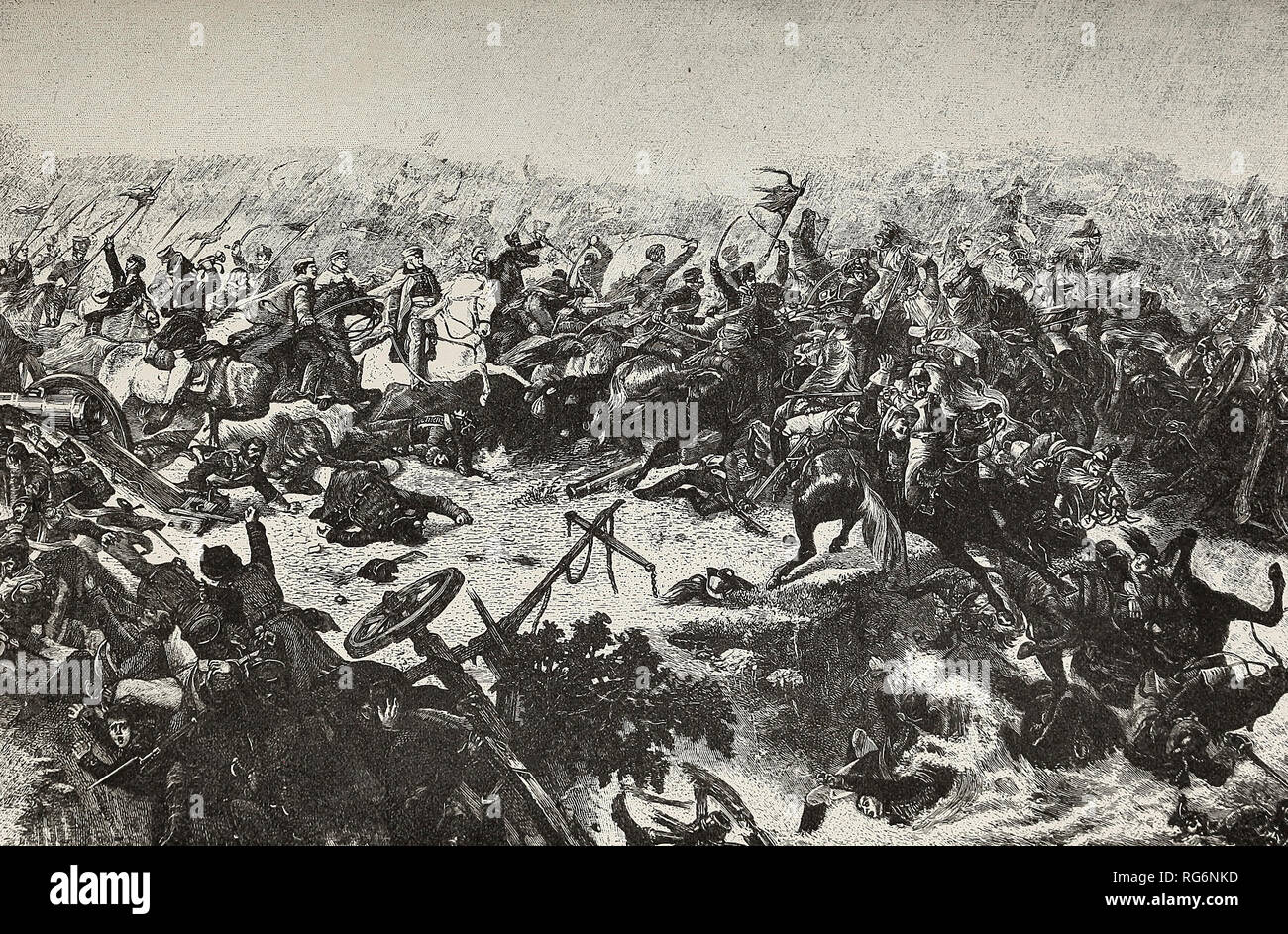 The Battle of the Katzbach - Marshal Blucher and his Prussians drive the French backward into the river - Stock Image