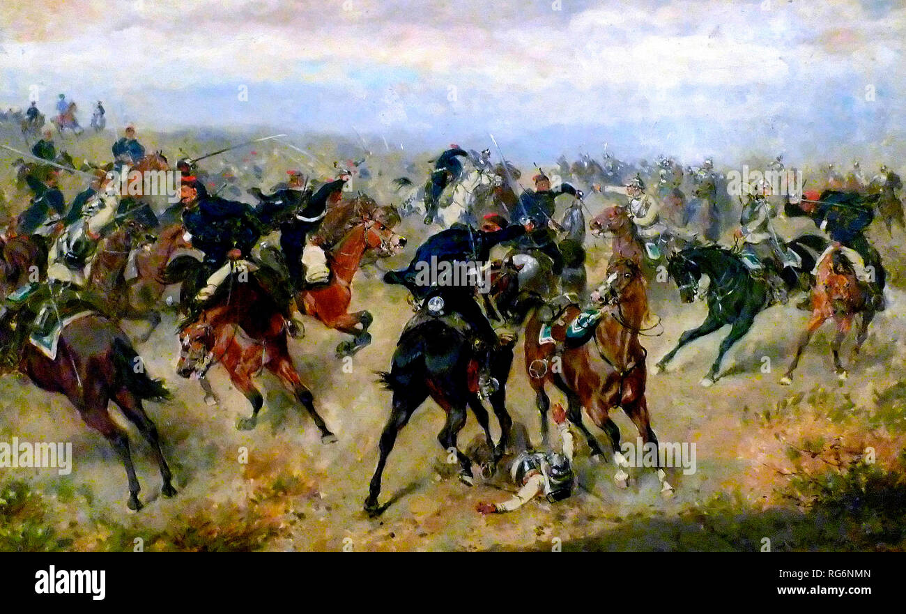 Skirmish between Austrian hussars and Prussian cuirassiers at the Battle of Königgrätz. Stock Photo