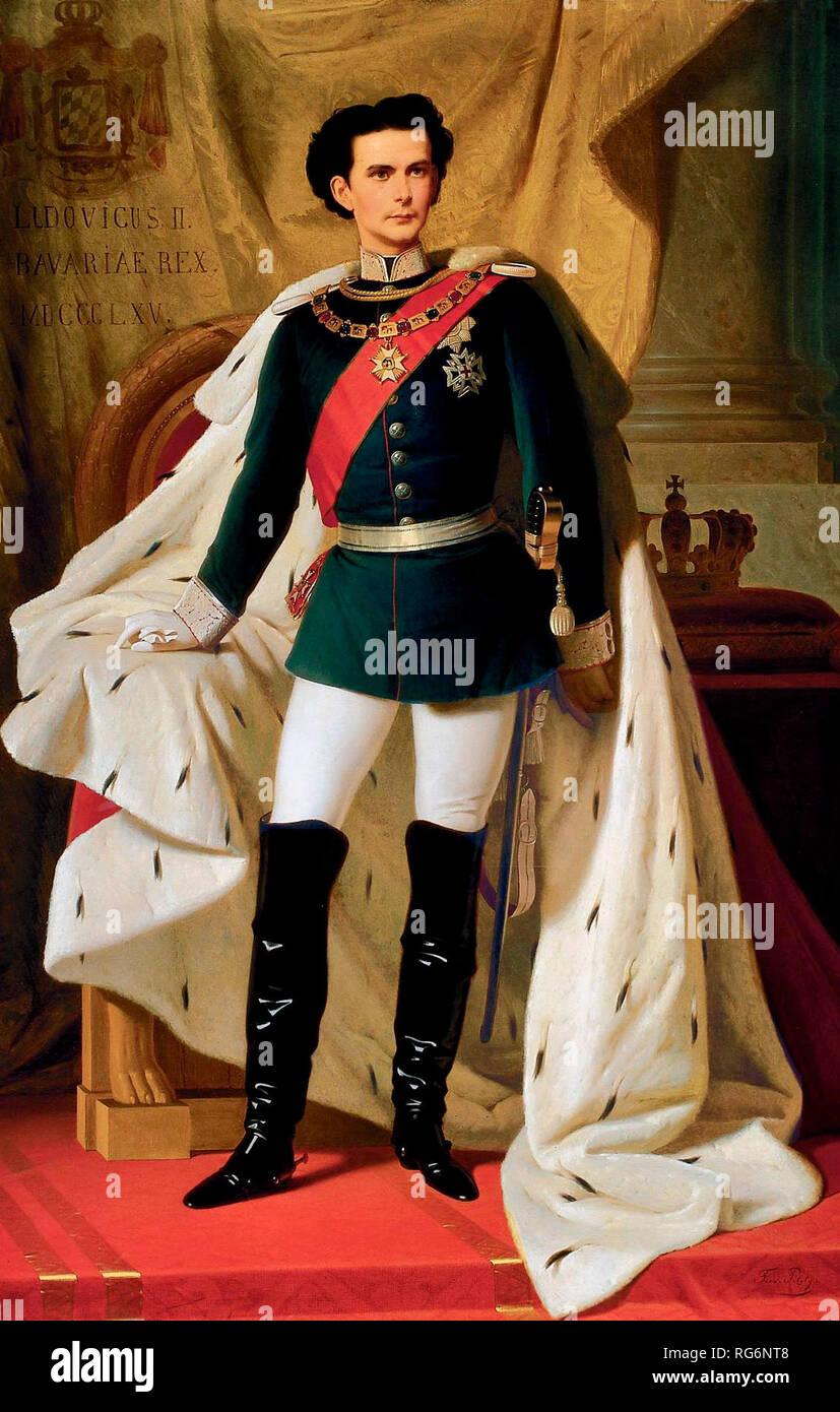 King Ludwig II of Bavaria in Generals uniform and coronation robe - Ferdinand von Piloty, 1865 - Stock Image