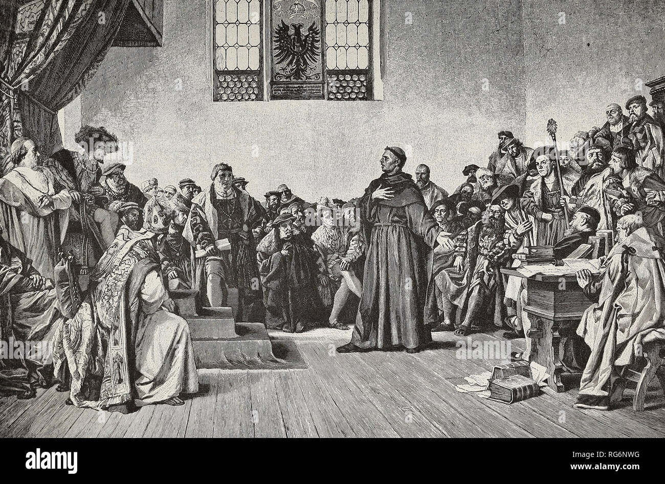 Luther defies the Emperor's Power - Charles V at Worms commands Luther to retract his teachings - Stock Image