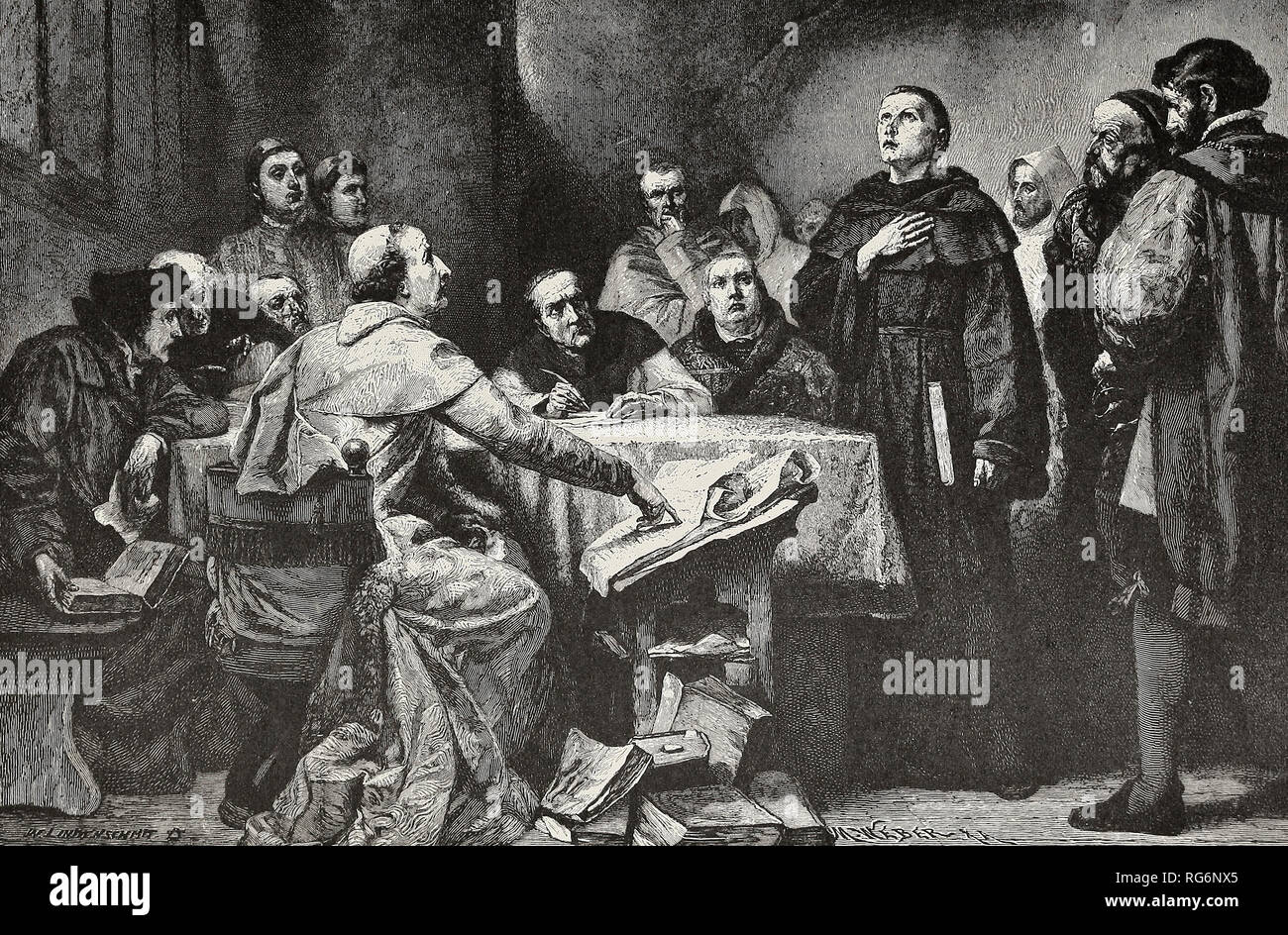 Luther rejects the Papal Authority - Luther refuses to keep silent at the command of Cardinal Cajetaneus, the Papal League - Stock Image