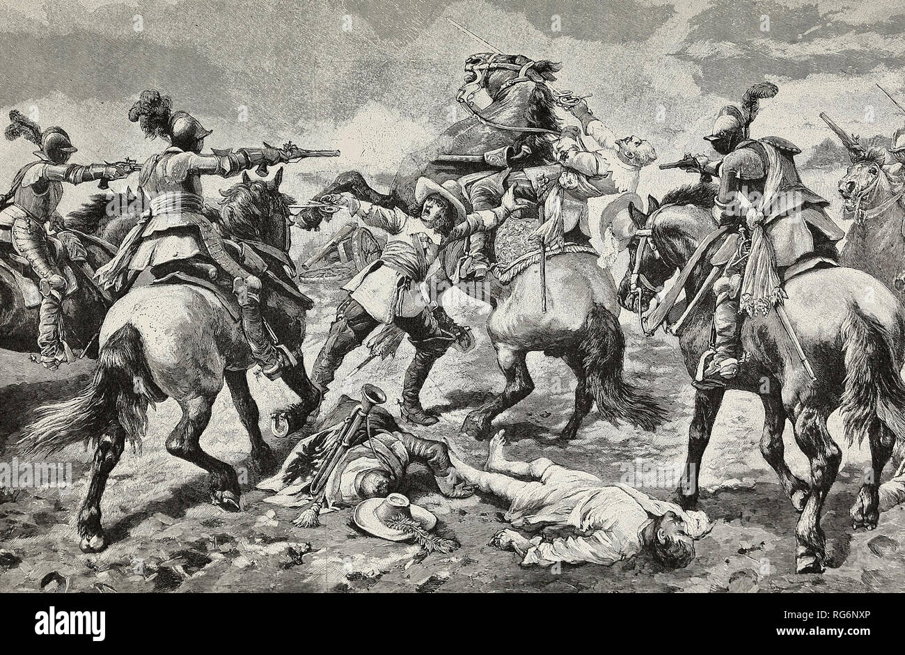 The death of King Gustavus - The Hero is killed in the moment of victory at Lutzen - Stock Image