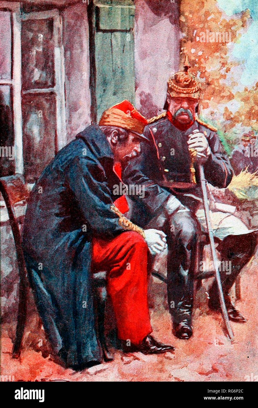 Otto von Bismarck and Napoleon III - The fallen emperor and triumphant statesman talked together - Stock Image