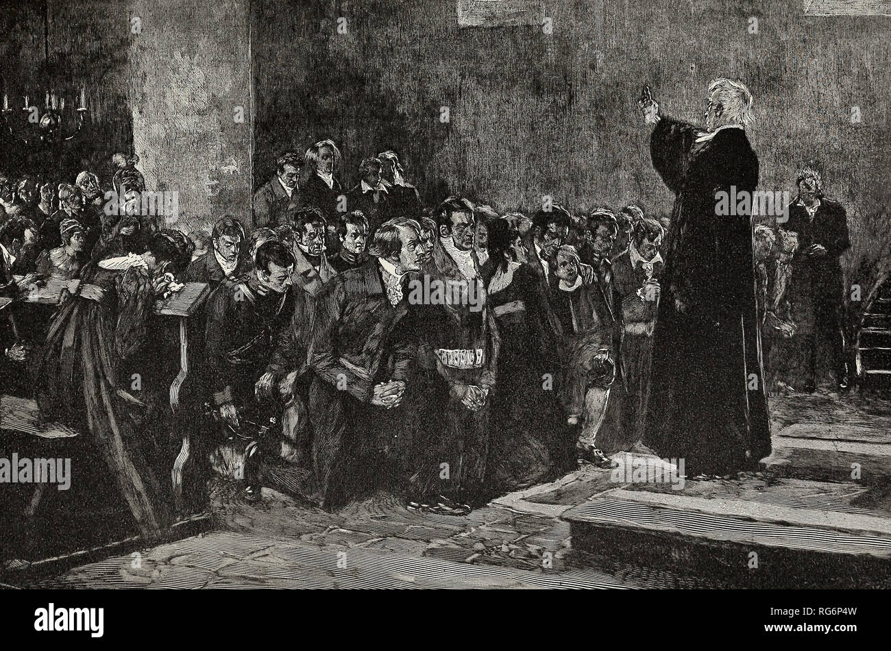 The gathering of the Prussians under their pastors for the War of 1813 - Stock Image