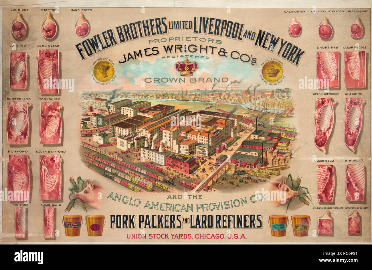 Fowler Brothers Limited Liverpool and New York. Pork packers and lard refiners - Stock Image