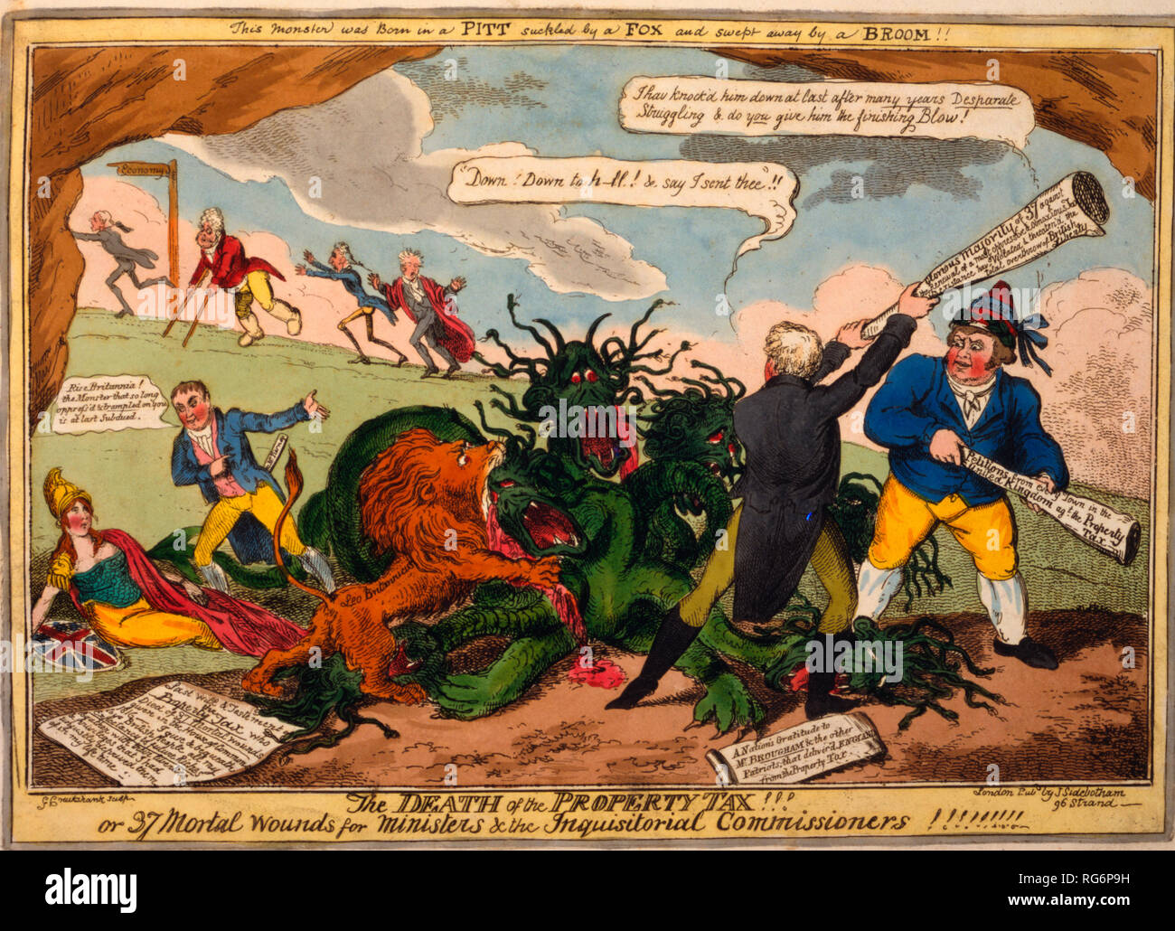 The death of the property tax! Or 37 mortal wounds for ministers & the inquisitoral commissioners! - Henry Brougham, John Bull, and the British lion (Leo Britannicus) attacking a hydra representing the property tax. At tail of the monster Mr. Tierney tells Britannia to rise. In the background, Liverpool, the Regent, Castlereagh, and Vansittart hasten up a slope with a sign-post pointing to 'Economy.' - Stock Image