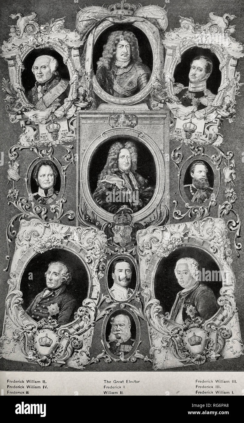 The Hohenzollerns - The Line of Hohenzollen rulers who built up Brandenburg to become Prussia - Stock Image