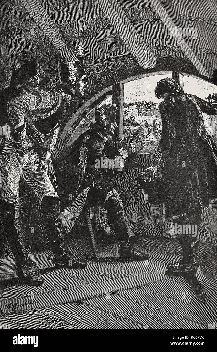 The crushing French defeat at Rossbach - Frederick the Great watches with his officers the mistaken tactics of the French - Stock Image