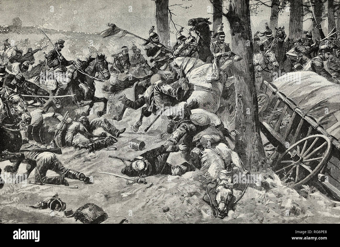 The Overthrow of France - The desperate but hopeless charge of the French Cavalry at Sedan - Stock Image