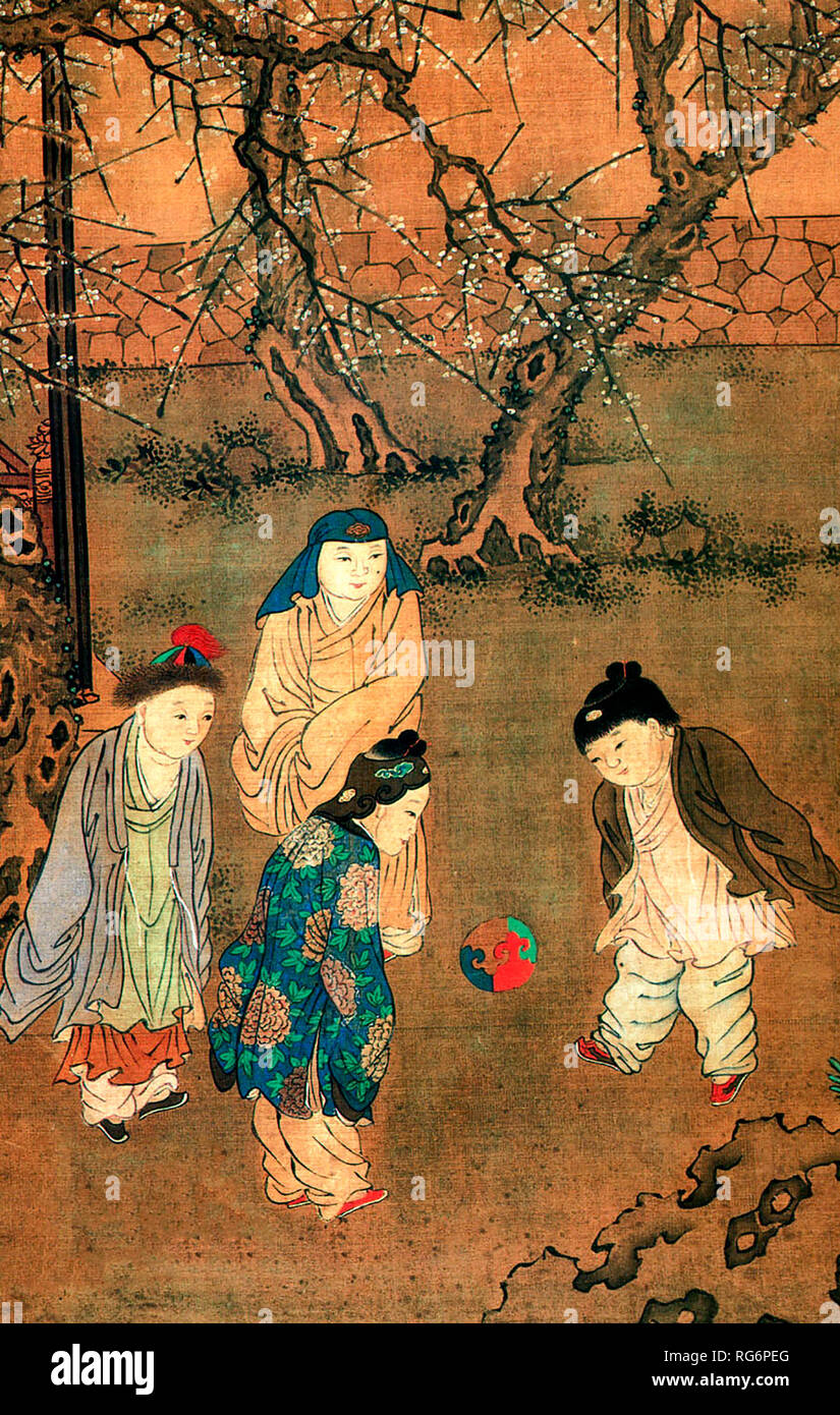 One Hundred Children in the Long Spring - Su Hanchen. 12th century AD, Song Dynasty - Stock Image