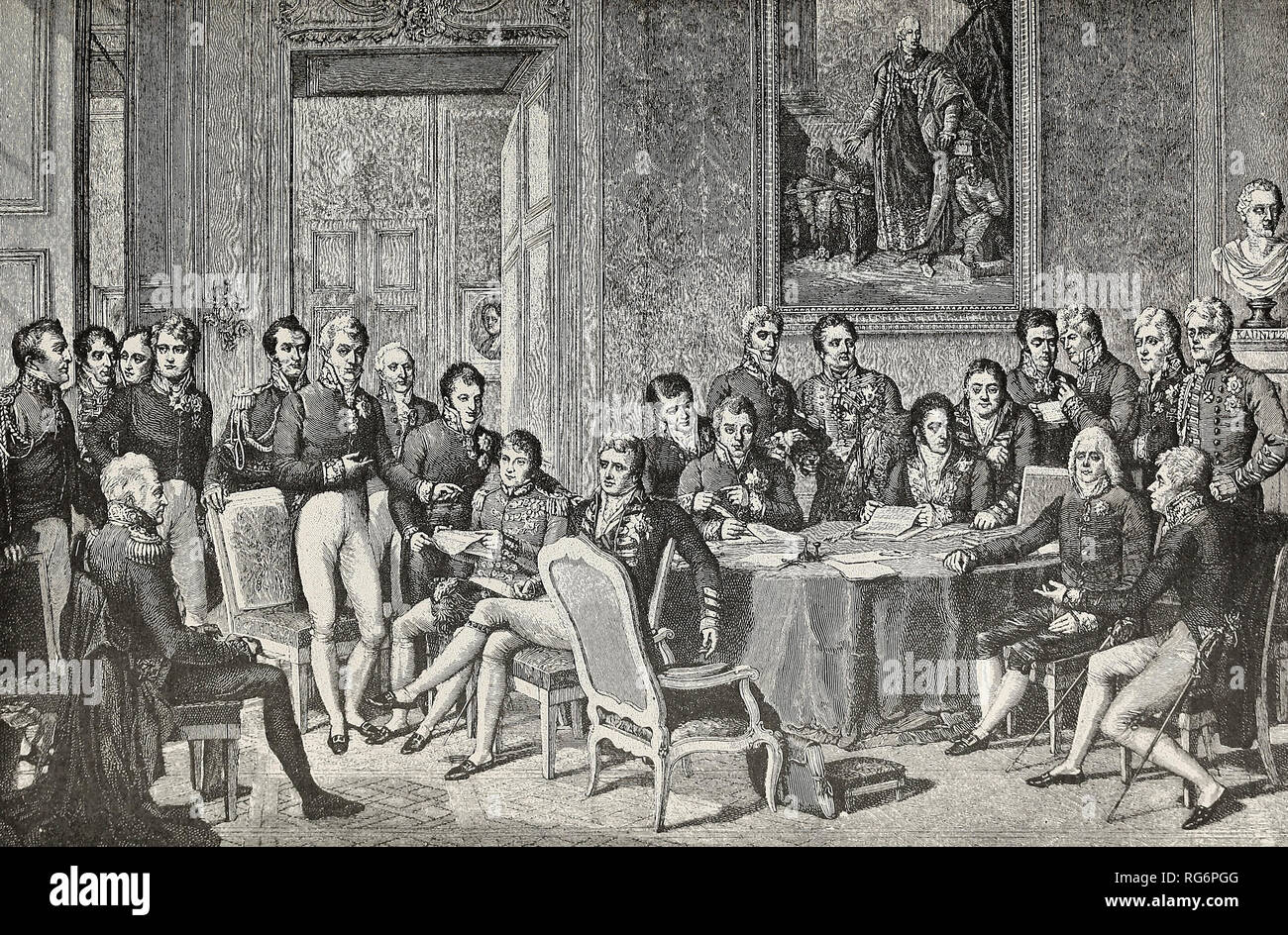 The Congress of Vienna - The celebrated gathering of Statesman to reconstruct Europe after Napoleon's overthrow - Stock Image
