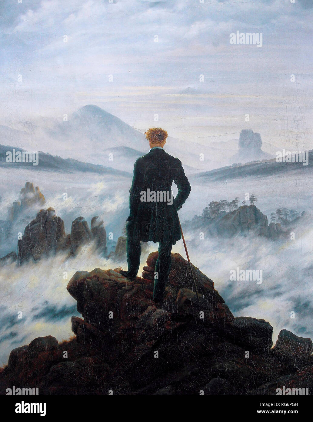 The wanderer above the sea of fog - Caspar David Friedrich, circa 1817 - Stock Image