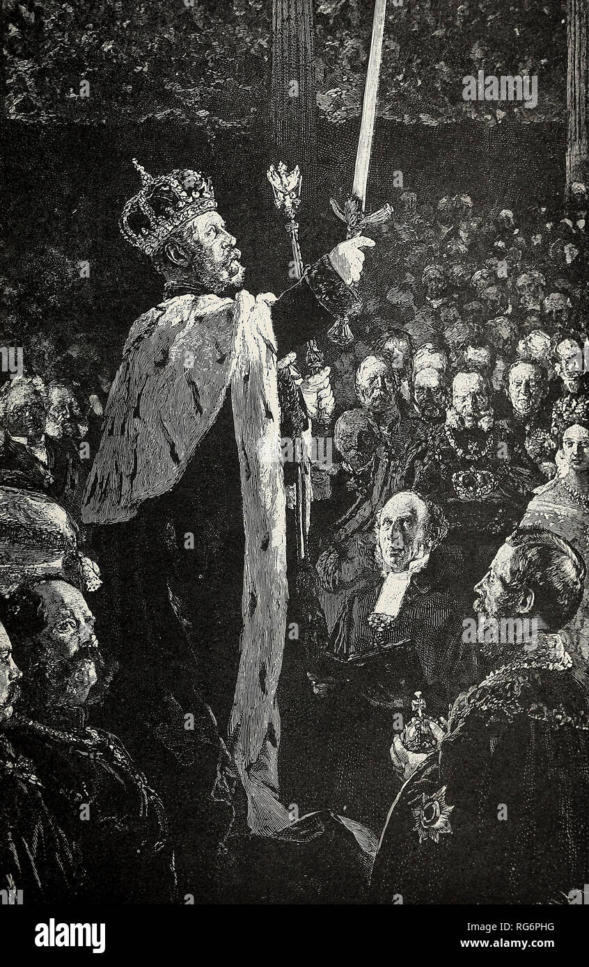 Coronation of William I of Prussia - William I, made King of Prussia, swears to uphold his own divine right to the throne - Stock Image