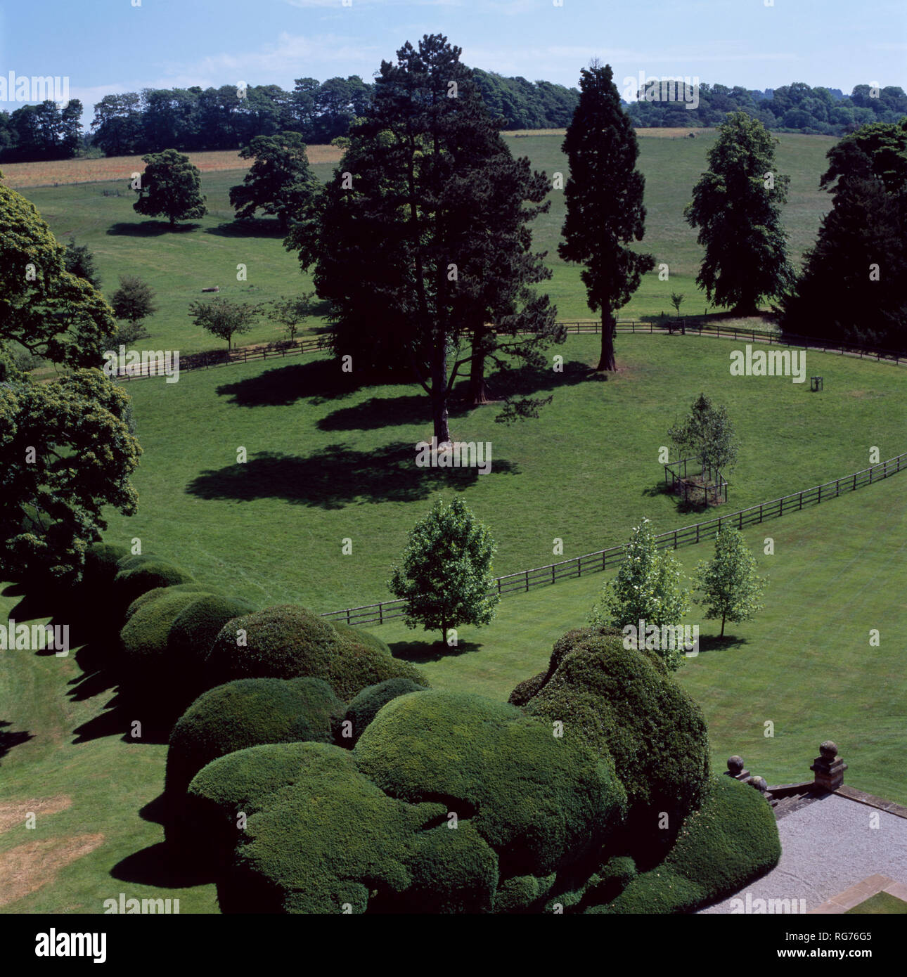 Birds-eye view of rounded topiary hedge and large lawns - Stock Image