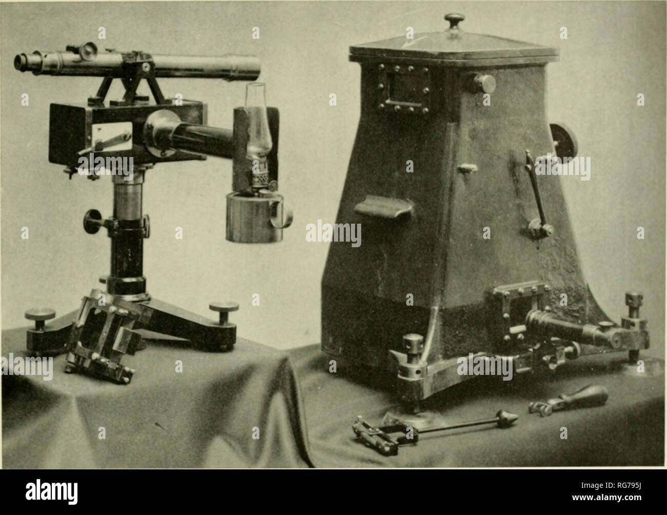 . Bulletin - United States National Museum. Science. Figure 25 Mendenhall's 'i-n iter i'j-second) apparatus. Shown on the left is the flash apparatus and, on the right, the vacuum chamber within which the pendulum is swung. 1 he flash apparatus consists of a kerosene lantern and a telescope, mounted on a box containing an electromagnetically operated shutter. 1 he operation of the shutter is con- trolled by a chronograph (not shown), so that ii emits a slit of light at regular intervals. 1 he nil-scope is focused on two mirrors within the apparatus, one fixed, the other attached to the top of - Stock Image