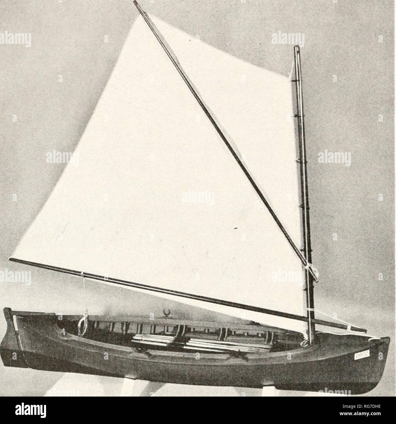 . Bulletin - United States National Museum. Science. Columbia River Salmon Boat of tlie type developed about 1885. Rigged model USNM 285033. (Smithsonian photo 4^606.) BILOXI FISHING LAUNCH, 193337 Builder's Half-Model, usnm 211230 Seacoast No. 1, Dr. Ki/lgis, 'Kemuui B. A number of fishing launches were built at Biloxi. Mississippi, from this model by W. H. Bowen between 1933 and 1937. Among these were Seacoast No. 7, Dr. h'ulgis, and Rcmma B. This class of fishing launch worked in sheltered waters. The half-model shows a common type of fishing launch having a caravel-planked hull the keel ra - Stock Image