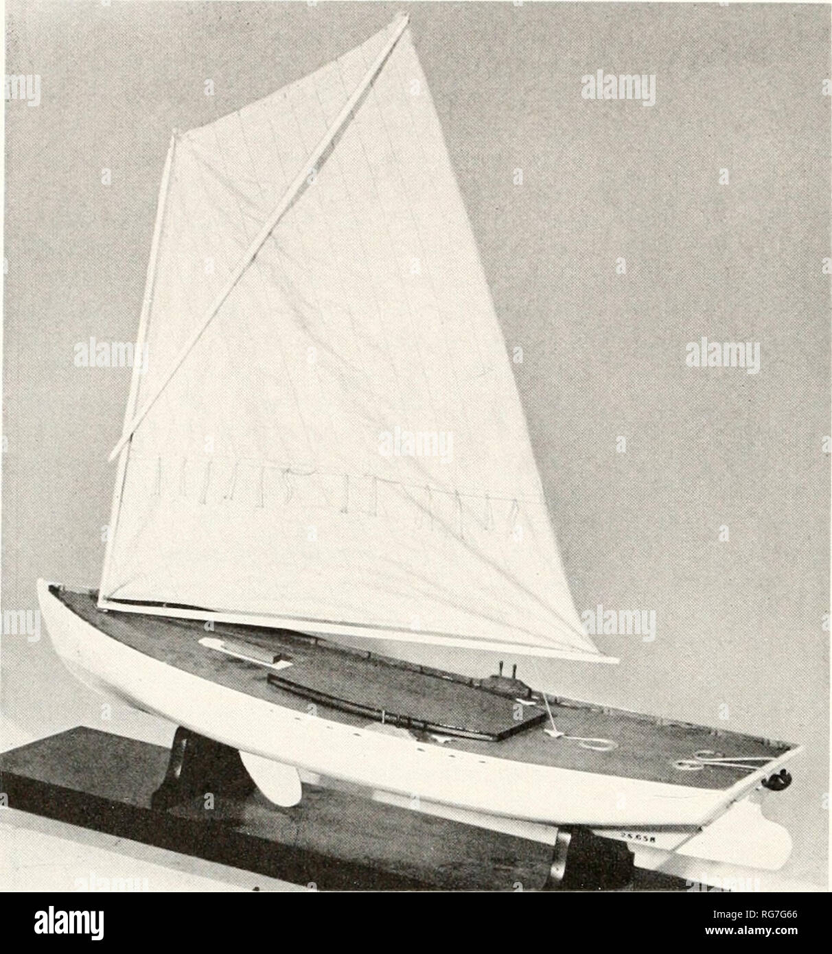 . Bulletin - United States National Museum. Science. Egg Harbor Melon-Seed Gun- ning Skiff from lower Barnegat Bay, New Jersey. Rigged model USNM 25658 showing a typical boat of this type. {Sinithsonian lihoto 4^6gya.) was controlled Idv a yoke and steering lines, as in the sneakljox. The model shows a sqiiare-sterned caravel-planked centerboard boat having a moderate sheer, rockered keel vith skeg. ciired stem, raking transom with rudder hung outljoard, sharp entrance, and an easy, well formed run. The midsection shows a slightly rising straight floor, slack rounded bilge, and flaring tops - Stock Image