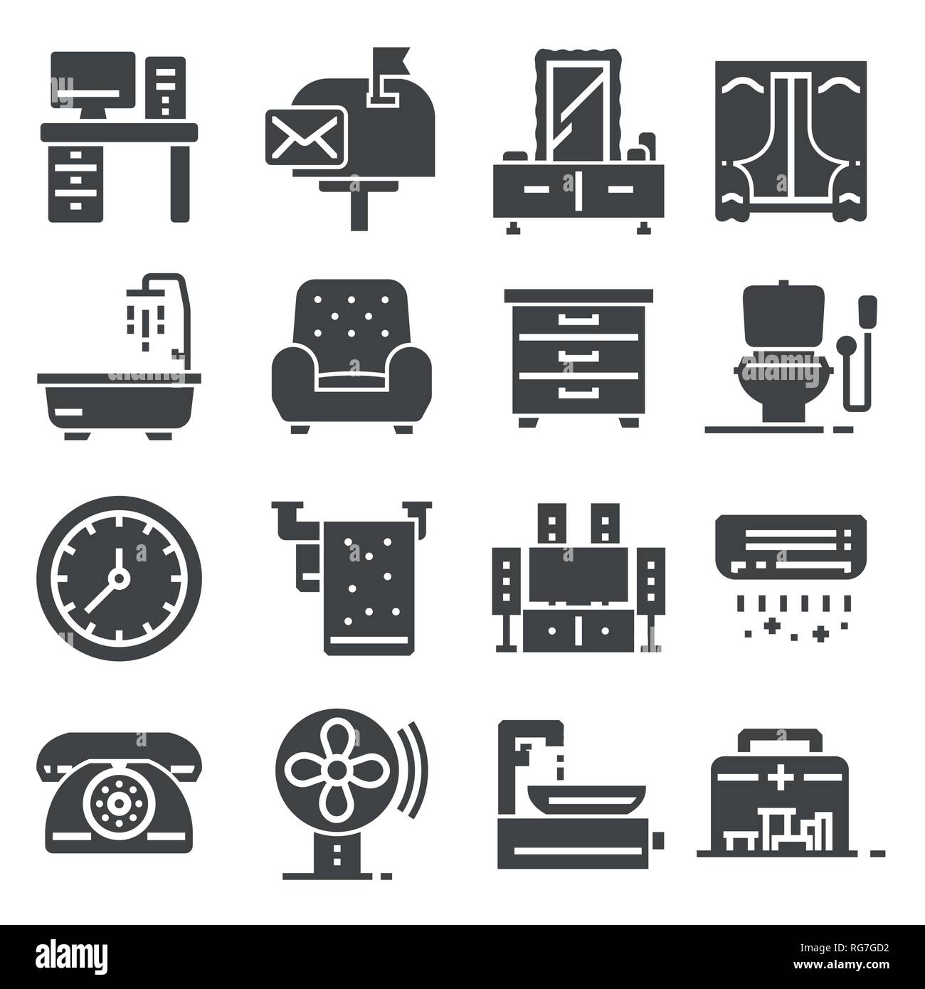 Furniture and home decor icon set. Vector illustration Stock