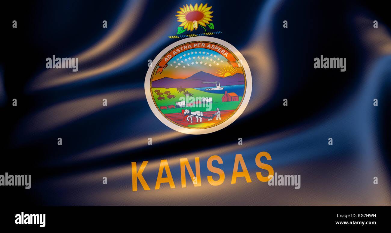 Kansas flag in the wind. 3d illustration. Topeka - Stock Image