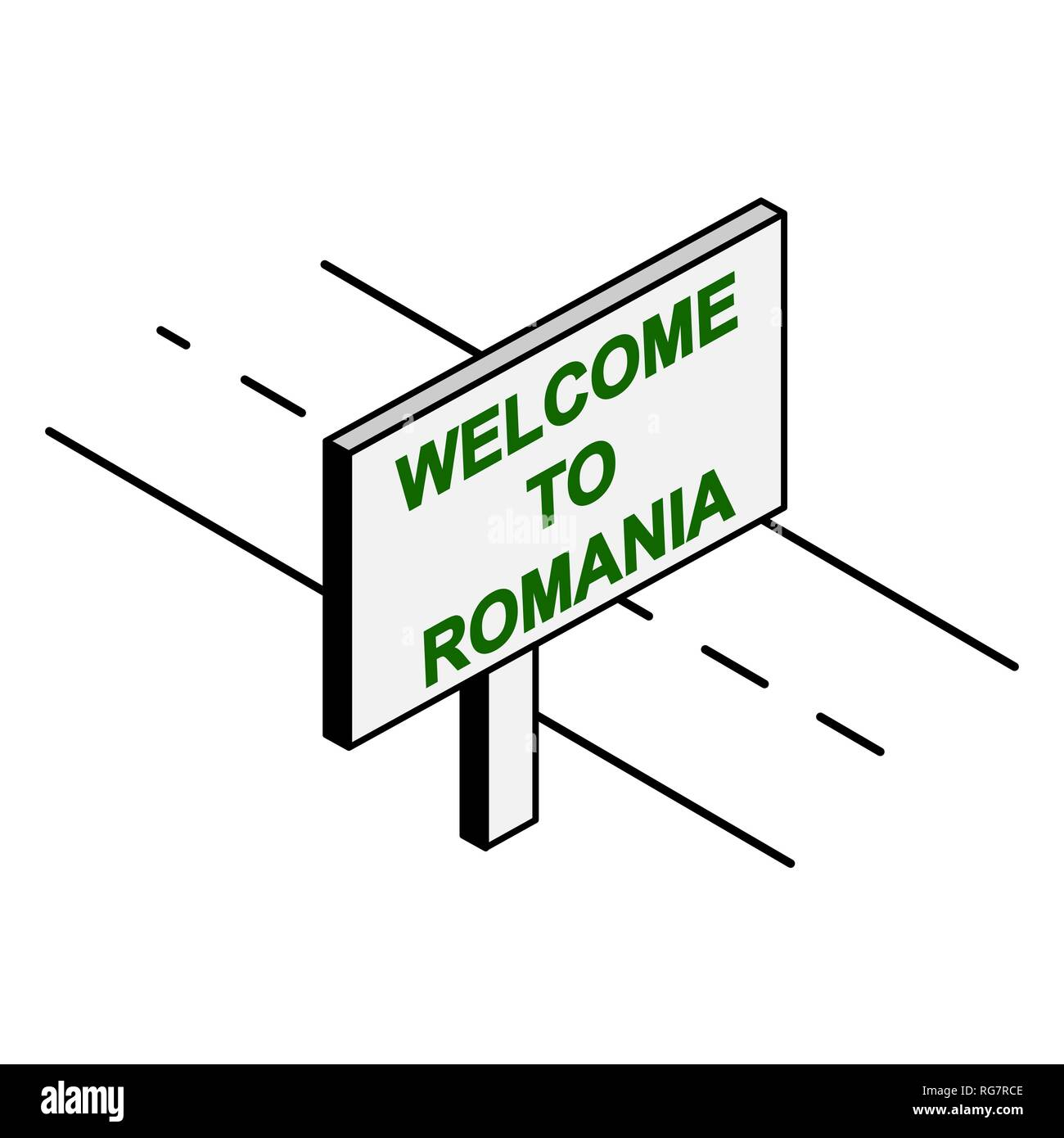 Billboard on the road with the inscription welcome to Romania Stock Vector