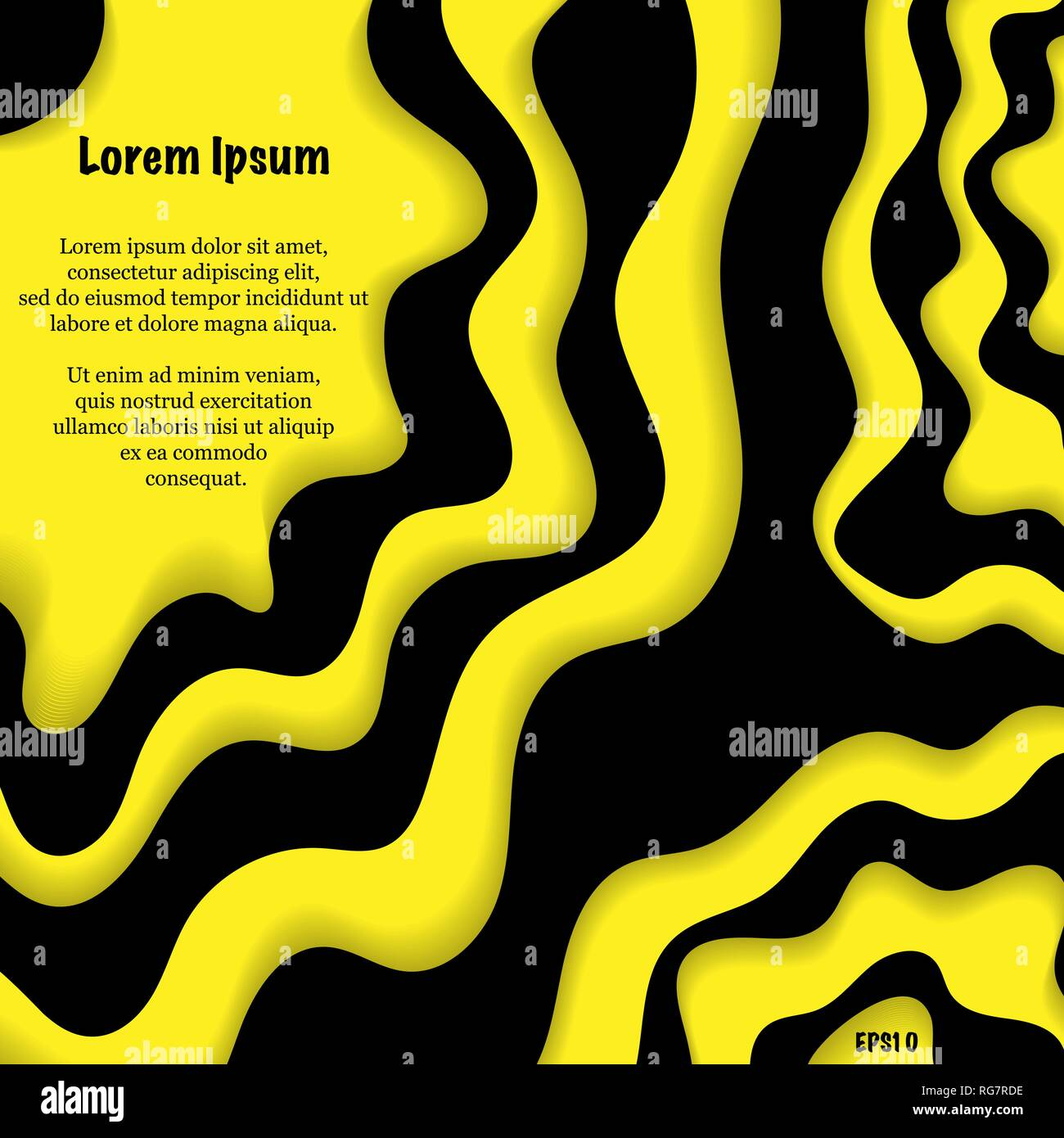 Abstract black and yellow cut paper background with sample text - Stock Image