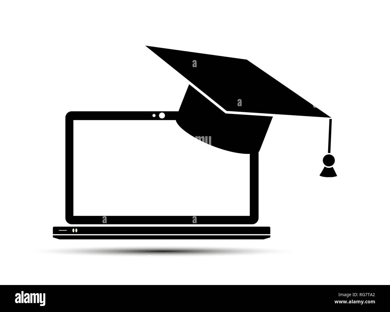 Simple flat icon, graduate headdress on laptop screen - Stock Image