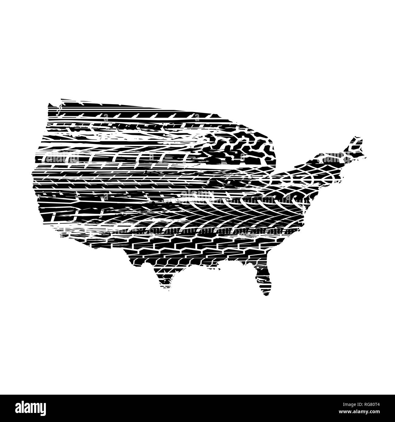 United States of America map silhouette with black tire track silhouettes Stock Vector
