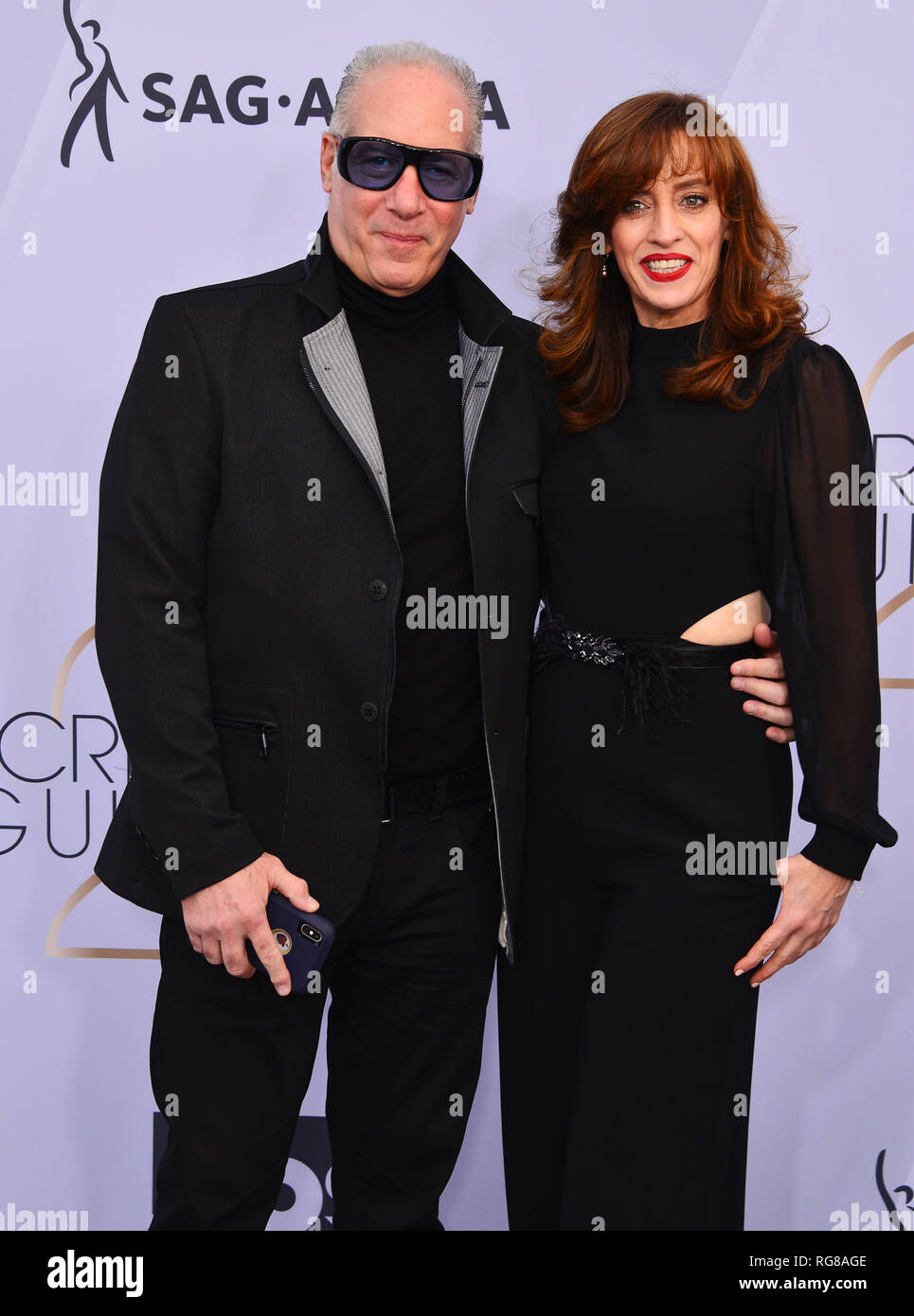 Los Angeles, USA. 27th Jan, 2019. Eleanor Kerrigan, Andrew Dice Clay 302 arriving at the 25th Annual Screen Actors Guild Awards at The Shrine Auditorium on January 27, 2019 in Los Angeles, California Credit: Tsuni/USA/Alamy Live News - Stock Image