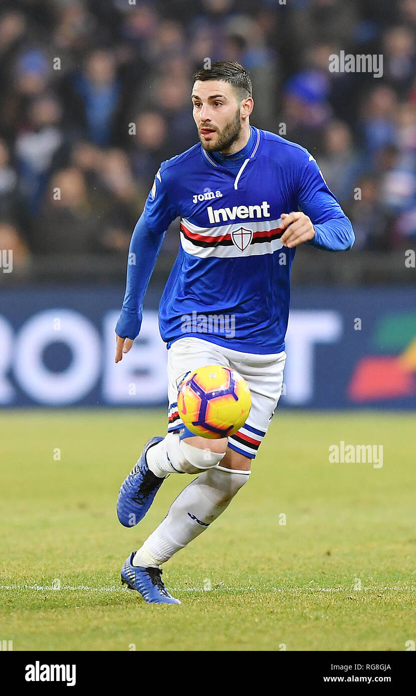 "Foto LaPresse - Tano Pecoraro 26 01 2019 Genova - (Italia) Sport Calcio Sampdoria vs Udinese Campionato di Calcio Serie A TIM 2018/2019 - Stadio ""Luigi Ferraris"" nella foto: murru nicola  Photo LaPresse - Tano Pecoraro 26 January 2019 City Genova - (Italy) Sport Soccer Sampdoria vs Udinese Italian Football Championship League A TIM 2018/2019 - ""Luigi Ferraris"" Stadium in the pic: murru nicola Stock Photo"
