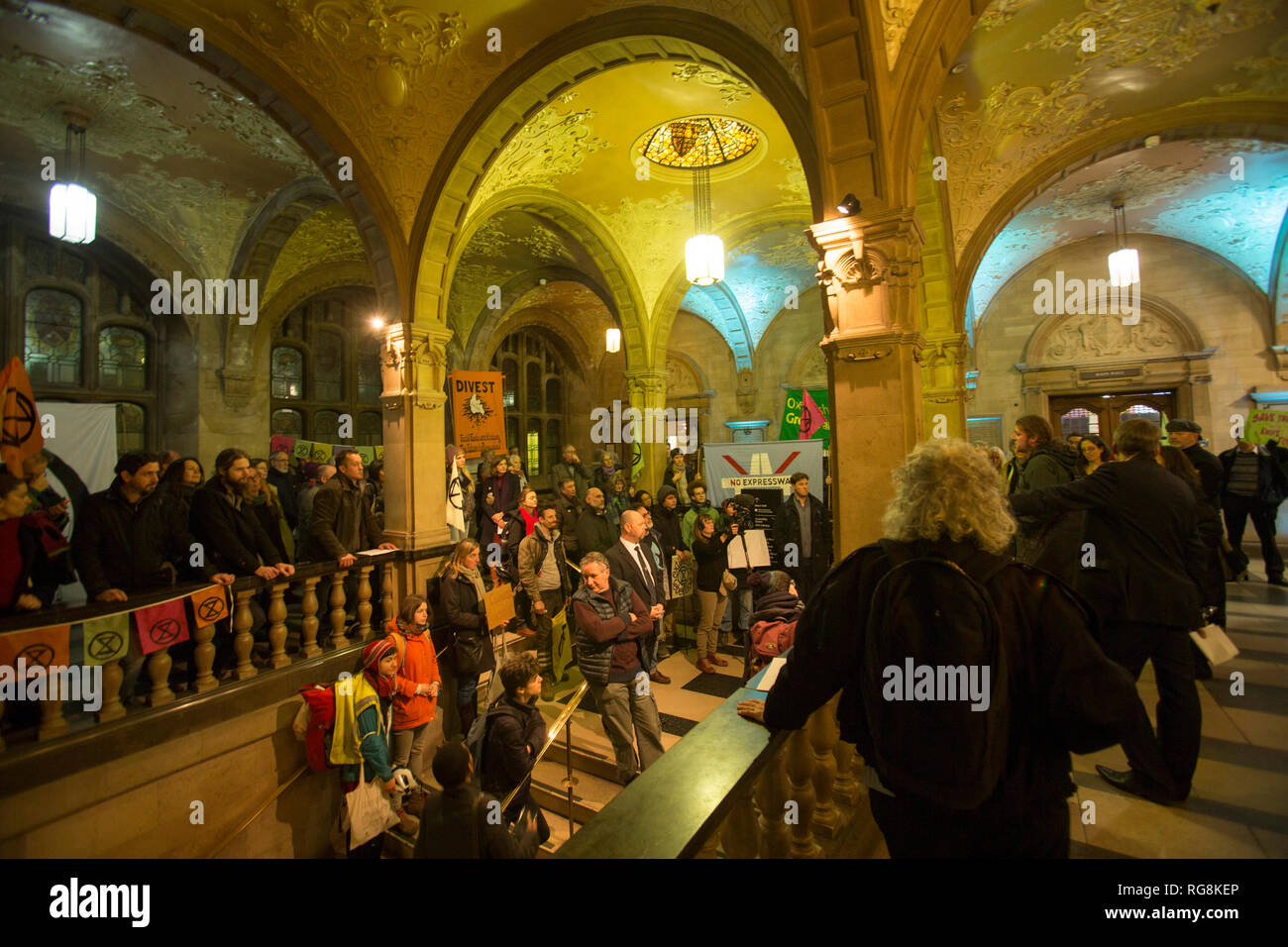 Oxford, UK. 28th January 2019. A motion to declare a state of climate emergency. Proposed by Green councillor Craig Simmonds, the motion was passed by Oxford City Council, evening of Monday 28th January 2018 at Oxford Town Hall. The motion carried  proposes that all decisions made by council  must be made with a state of climate emergency to be considered. Credit: adrian arbib/Alamy Live News Stock Photo