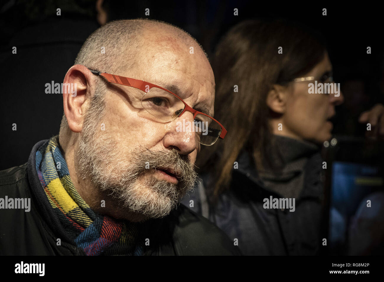 Barcelona, catalonia, Spain. 28th Jan, 2019. Jordi Lozano González, known by Jordi Petit, a historical LGTBI activist is seen during the protest.The LGTBI community, with the support of the mayor of Barcelona Ada Colau, have made an act of protest against the fascist attack against the new headquarters of the collective LGTBI. The first LGTBI center in Catalonia appeared with death threat texts and broken glass after the launching. Credit: Paco Freire/SOPA Images/ZUMA Wire/Alamy Live News - Stock Image