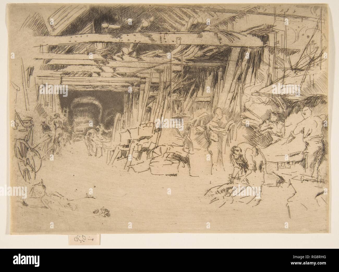 Wheelwright. Artist: James McNeill Whistler (American, Lowell, Massachusetts 1834-1903 London). Dimensions: Plate: 4 15/16 × 6 15/16 in. (12.6 × 17.6 cm)  Sheet: 4 15/16 × 6 15/16 in. (12.6 × 17.6 cm). Series/Portfolio: Second Venice Set ('A Set of Twenty-Six Etchings by James A. McN. Whistler,' 1886). Date: 1879-80. Museum: Metropolitan Museum of Art, New York, USA. - Stock Image