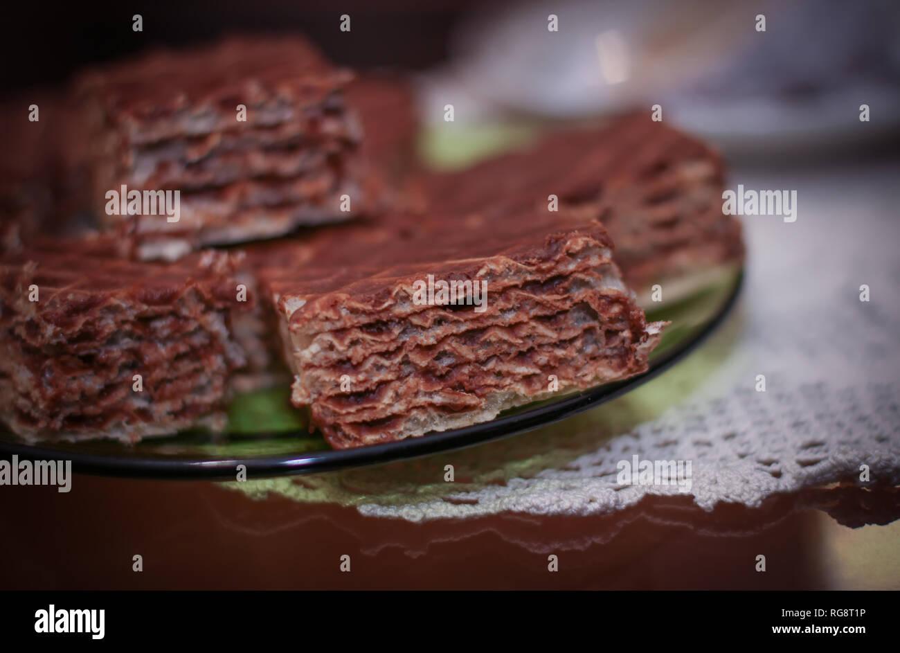 Chocolate layered wafer cake - Stock Image