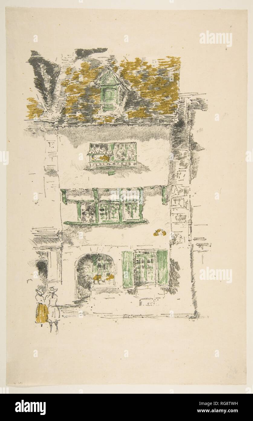 Yellow House, Lannion. Artist: James McNeill Whistler (American, Lowell, Massachusetts 1834-1903 London). Dimensions: Image: 9 1/2 × 6 3/8 in. (24.2 × 16.2 cm)  Sheet: 12 1/2 × 8 1/16 in. (31.8 × 20.4 cm). Date: 1893. Museum: Metropolitan Museum of Art, New York, USA. - Stock Image