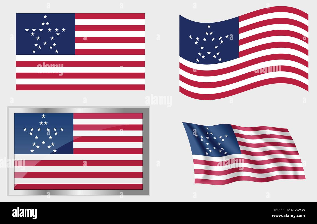 Historic Flag of the United States 20 Stars - Stock Vector