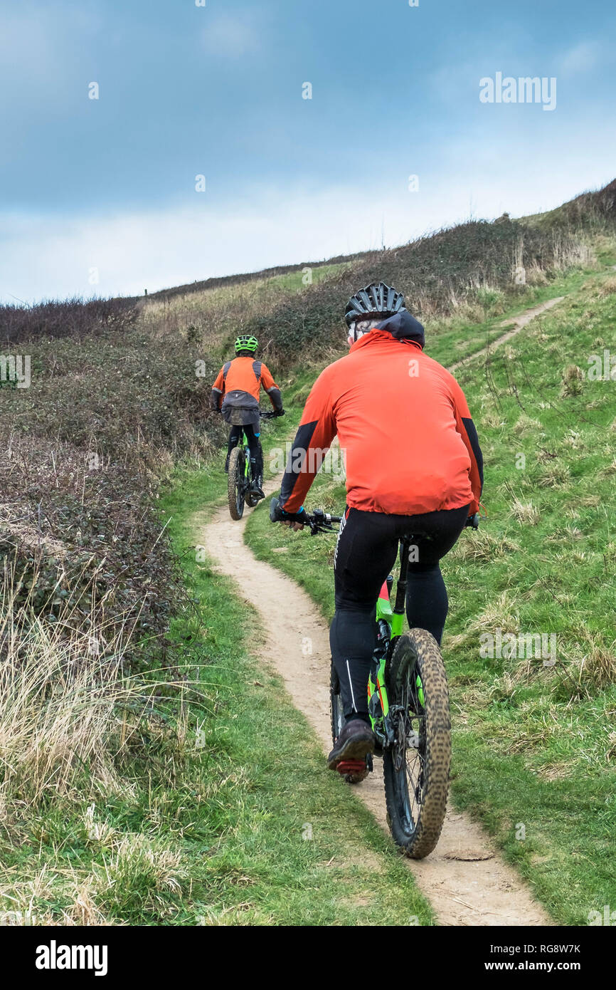 Two mountain bikers cycling along a footpath on the coast in Cornwall. - Stock Image