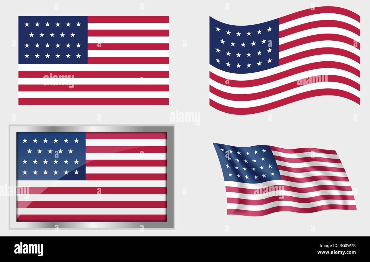 Historic Flag of the United States 23 Stars - Stock Vector