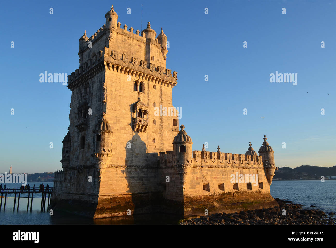 16th century Belem tower, one of the top historical monuments in Lisbon (Portugal), at sunset Stock Photo