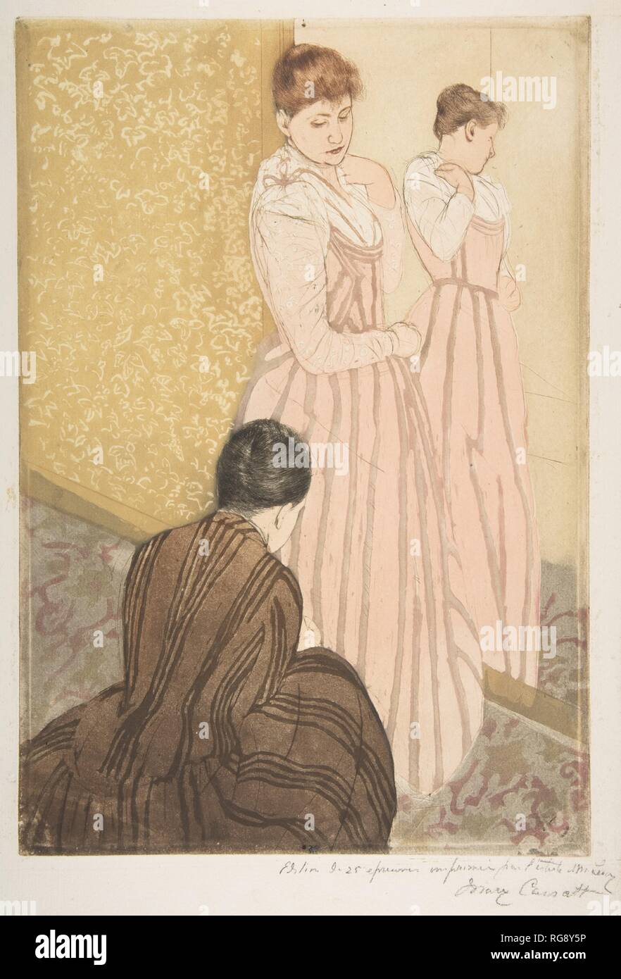 The Fitting. Artist: Mary Cassatt (American, Pittsburgh, Pennsylvania 1844-1926 Le Mesnil-Théribus, Oise). Dimensions: plate: 14 13/16 x 10 1/8 in. (37.6 x 25.7 cm)  sheet: 16 13/16 x 11 3/4 in. (42.7 x 29.8 cm). Date: 1890-91. Museum: Metropolitan Museum of Art, New York, USA. Stock Photo