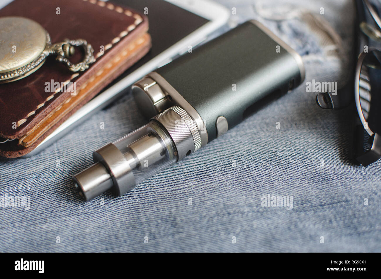 Advanced personal vaporizer or e-cigarette, close up - Stock Image