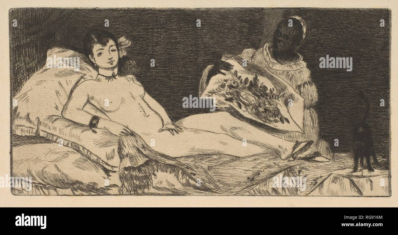Olympia (small plate). Artist: Édouard Manet (French, Paris 1832-1883 Paris). Dimensions: plate: 3 7/16 x 7in. (8.7 x 17.8cm)  sheet: 4 7/8 x 8in. (12.4 x 20.3cm). Date: 1867. Museum: Metropolitan Museum of Art, New York, USA. - Stock Image